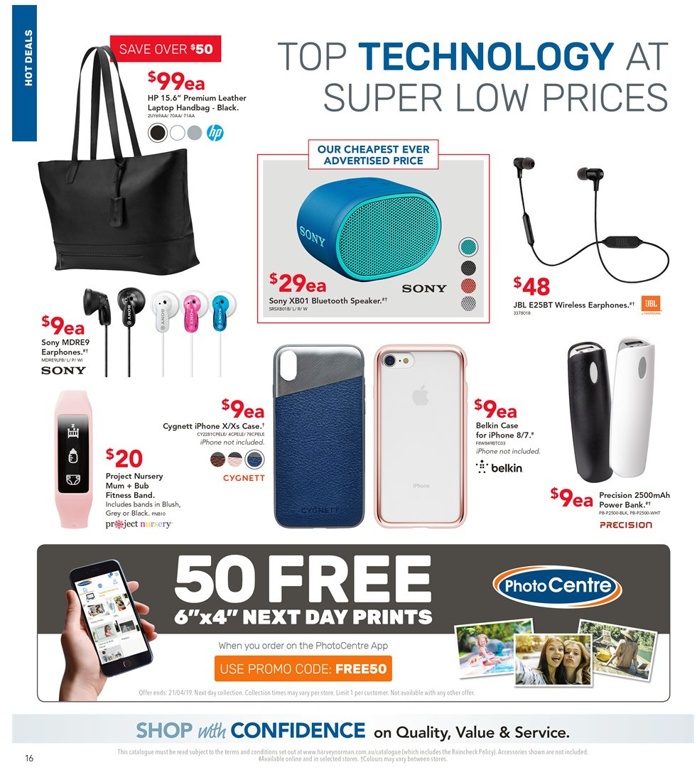 Harvey Norman catalogue  - 5.4.2019 - 21.4.2019. Page 16.