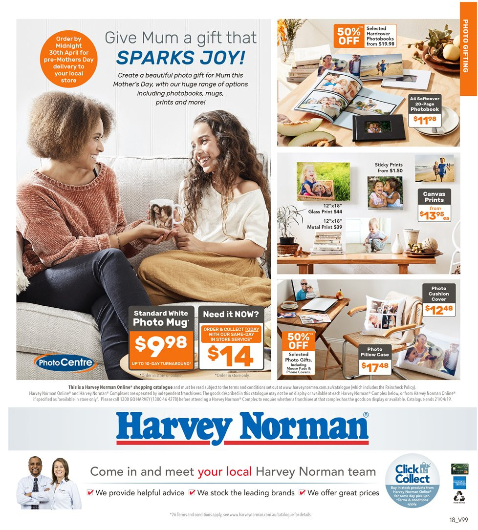 Harvey Norman catalogue  - 5.4.2019 - 21.4.2019. Page 18.