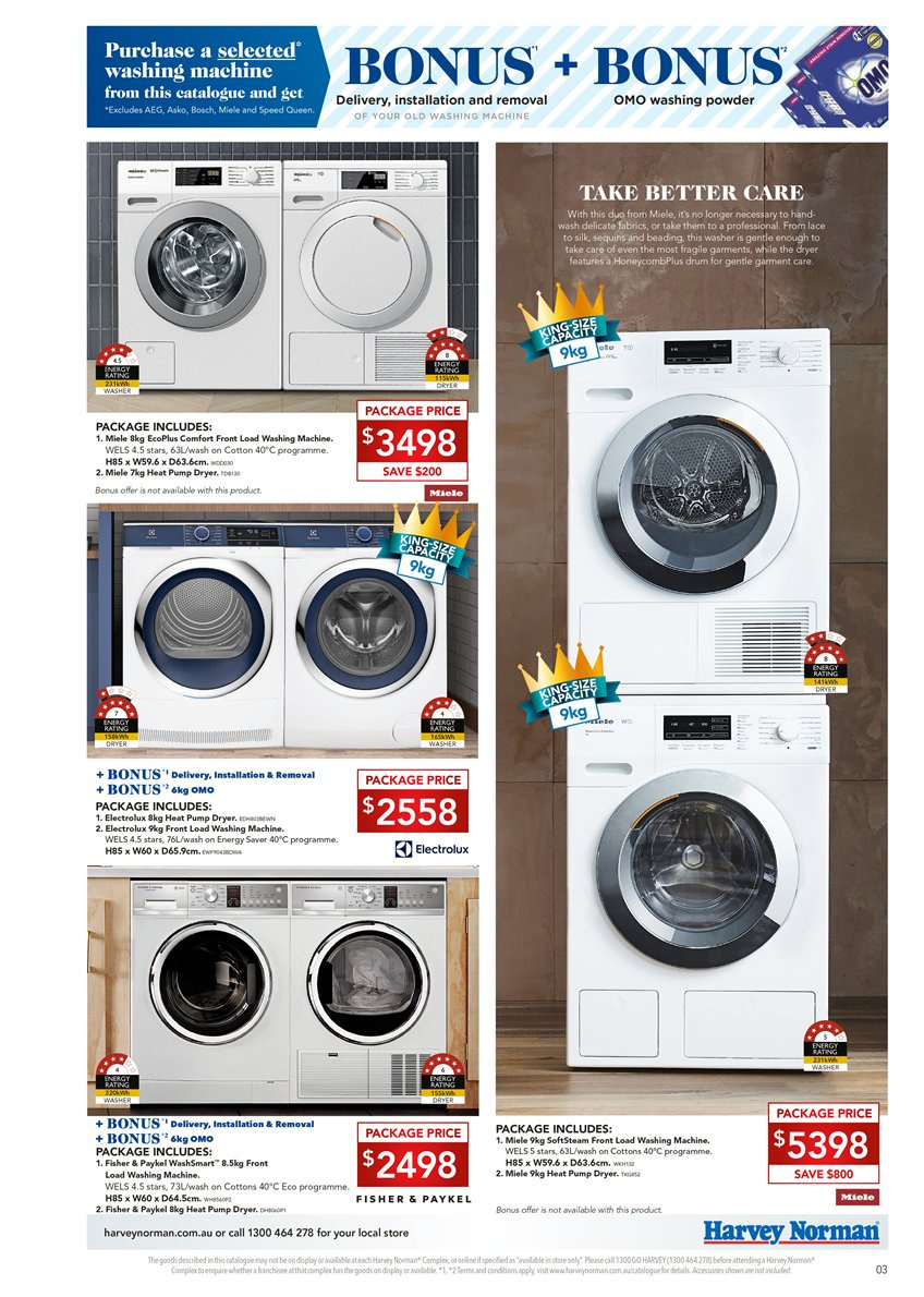 Harvey Norman catalogue  - 6.4.2019 - 28.4.2019. Page 3.