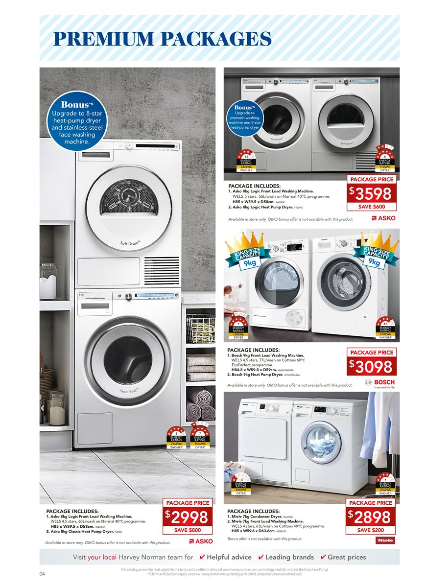 Harvey Norman catalogue  - 6.4.2019 - 28.4.2019. Page 4.