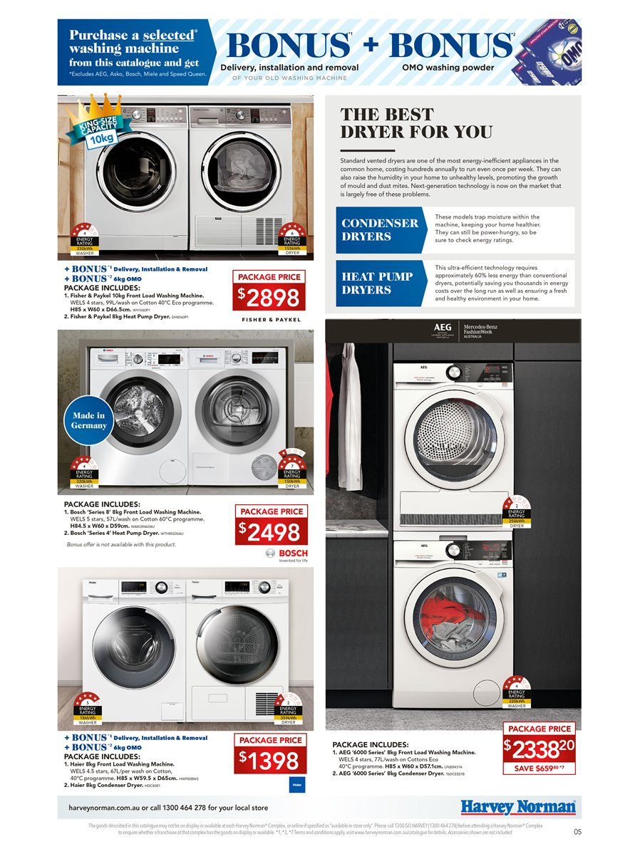 Harvey Norman catalogue  - 6.4.2019 - 28.4.2019. Page 5.