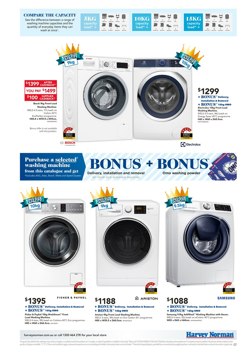 Harvey Norman catalogue  - 6.4.2019 - 28.4.2019. Page 7.