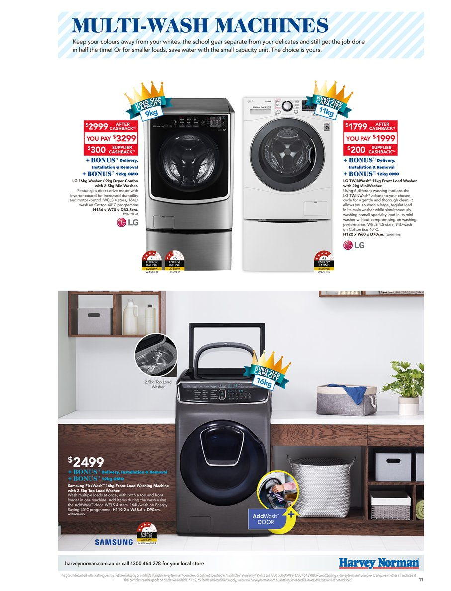 Harvey Norman catalogue  - 6.4.2019 - 28.4.2019. Page 11.