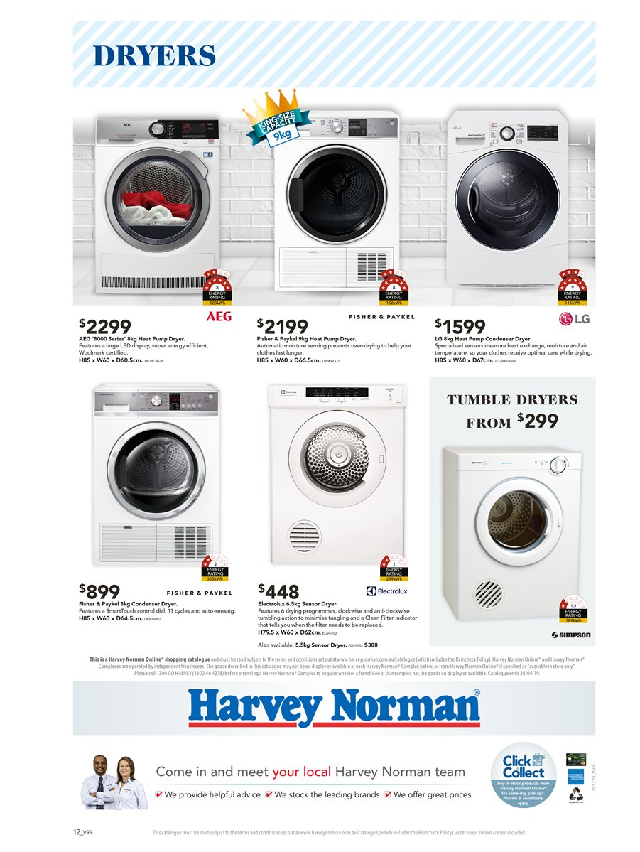Harvey Norman catalogue  - 6.4.2019 - 28.4.2019. Page 12.