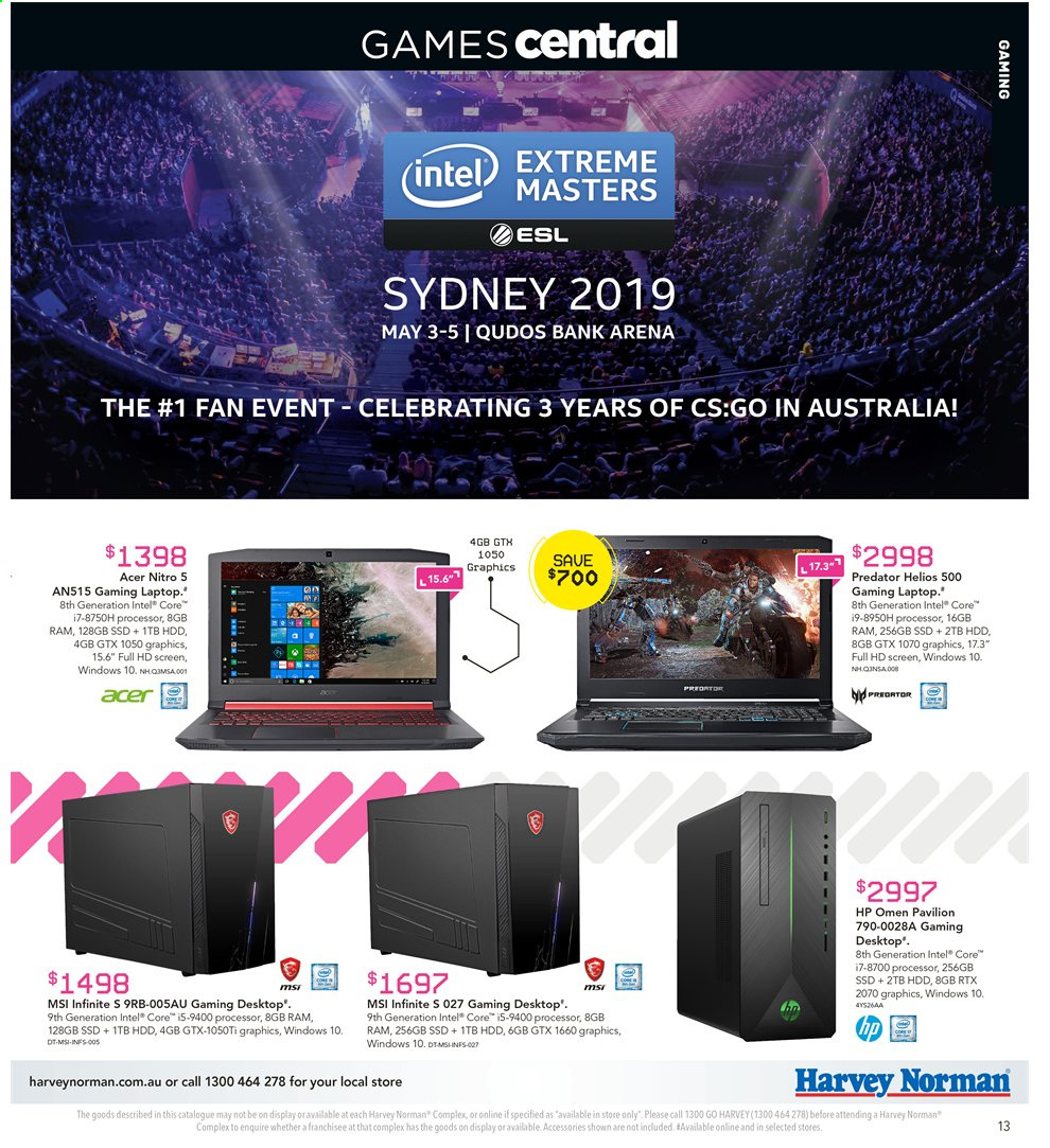 Harvey Norman catalogue  - 3.5.2019 - 19.5.2019. Page 13.