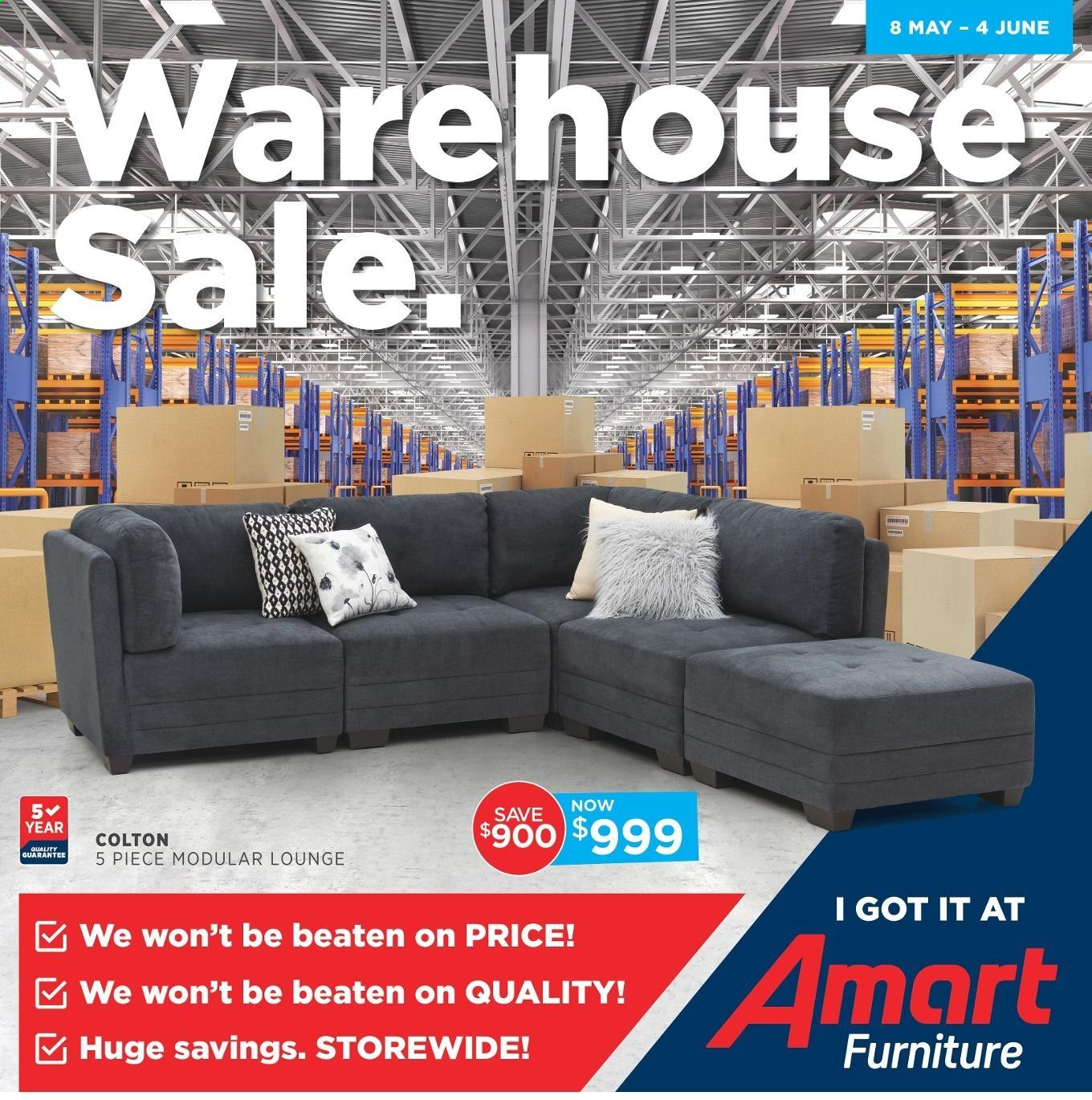 Amart Furniture catalogue  - 8.5.2019 - 4.6.2019. Page 1.