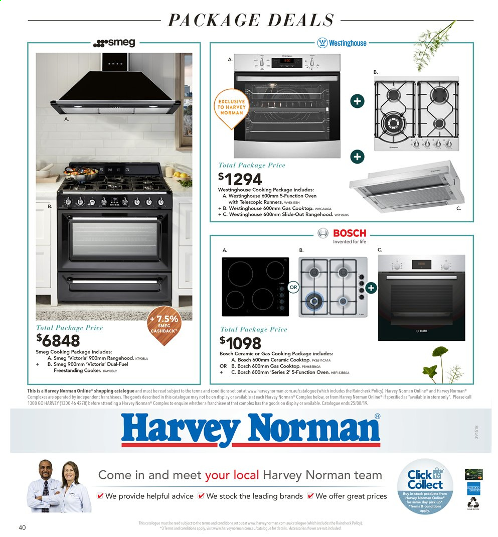 Harvey Norman catalogue  - 26.7.2019 - 25.8.2019. Page 40.