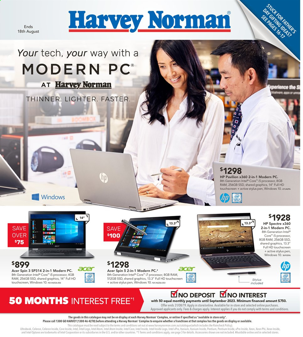 Harvey Norman catalogue  - 2.8.2019 - 18.8.2019. Page 1.