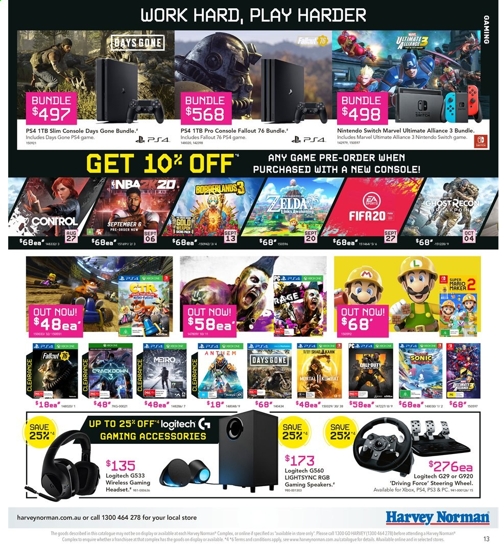 Harvey Norman catalogue  - 2.8.2019 - 18.8.2019. Page 13.