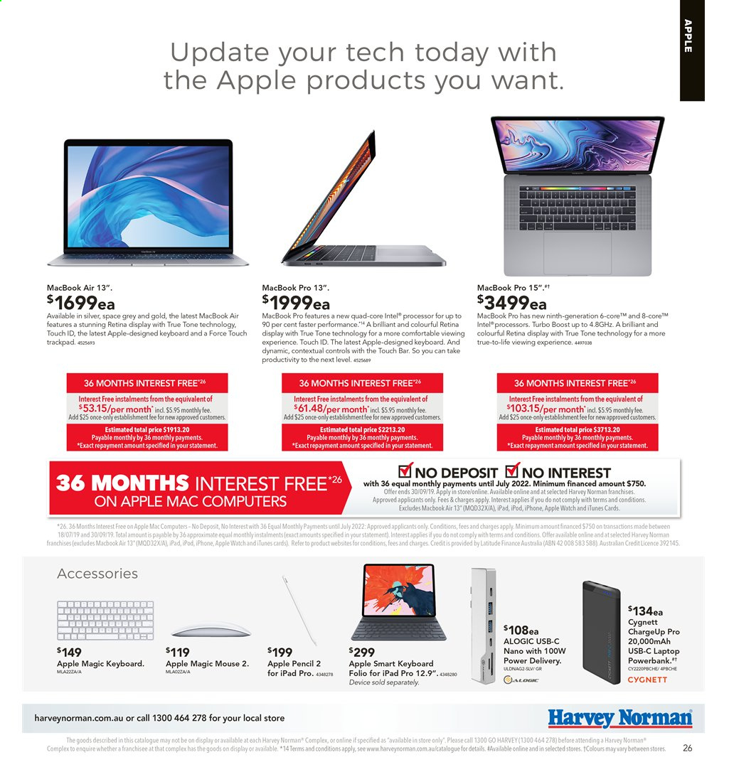 Harvey Norman catalogue  - 2.8.2019 - 18.8.2019. Page 26.