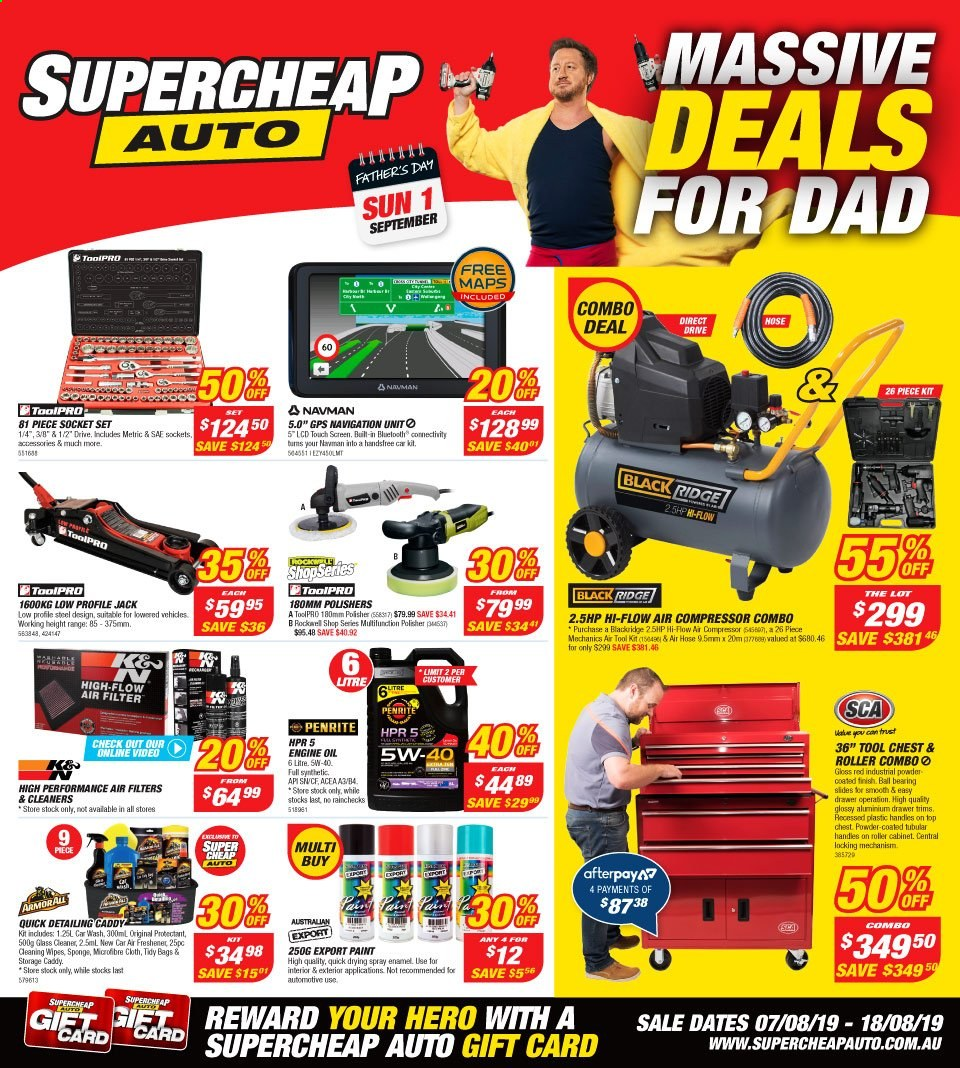 Supercheap Auto catalogue  - 7.8.2019 - 18.8.2019. Page 1.