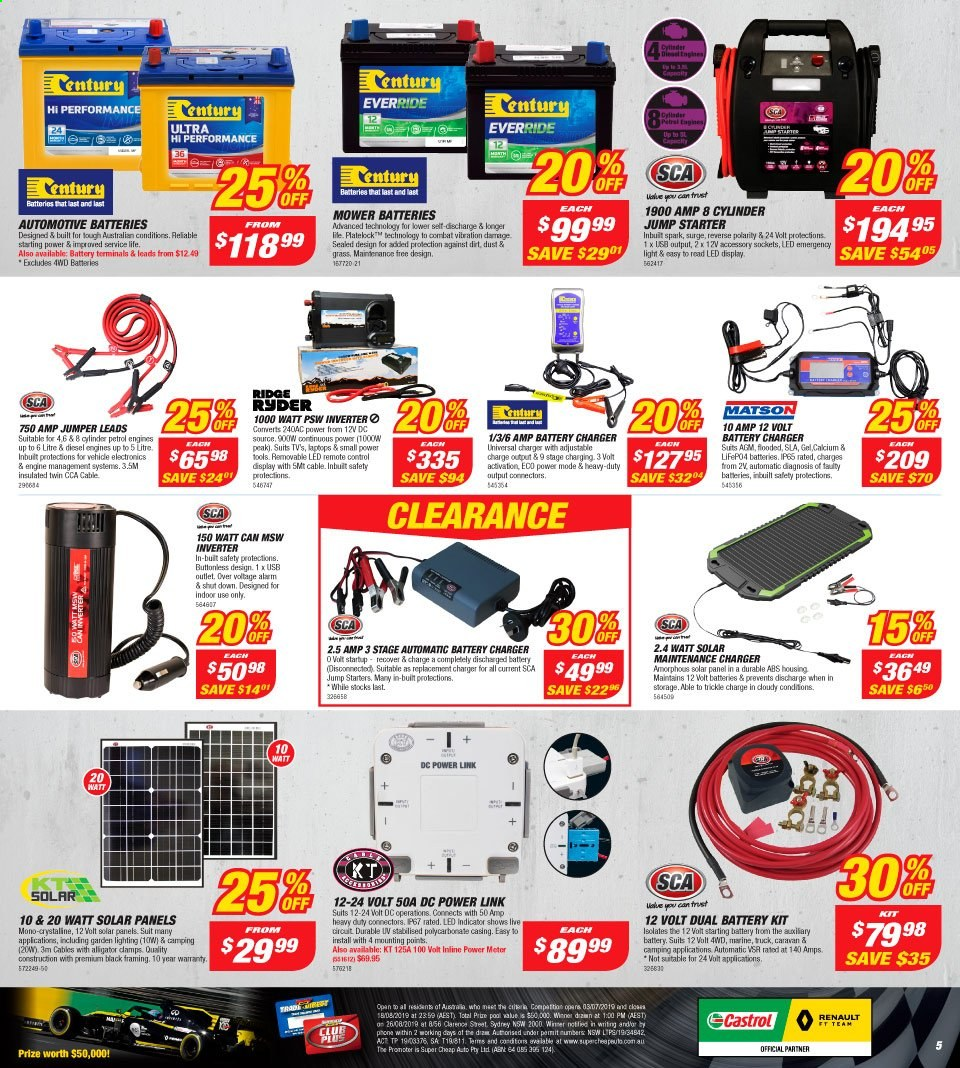 Supercheap Auto catalogue  - 7.8.2019 - 18.8.2019. Page 5.