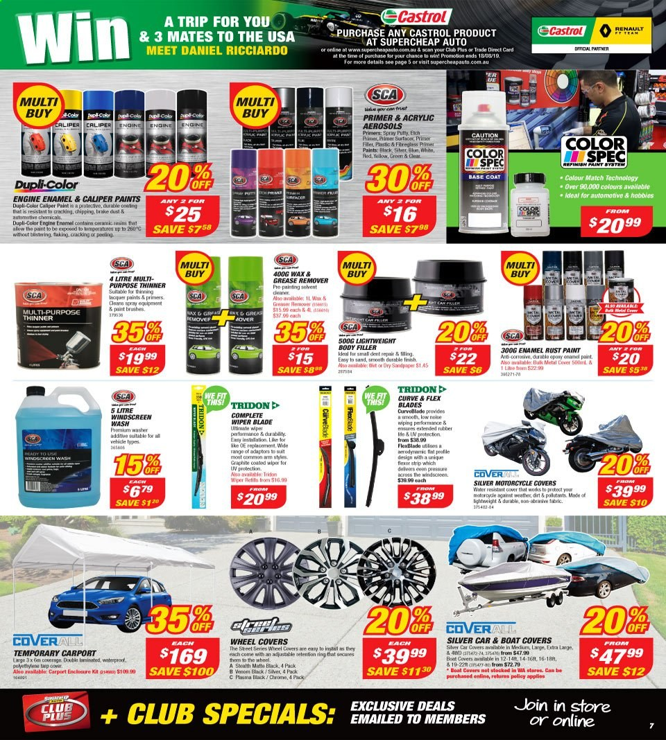 Supercheap Auto catalogue  - 7.8.2019 - 18.8.2019. Page 7.