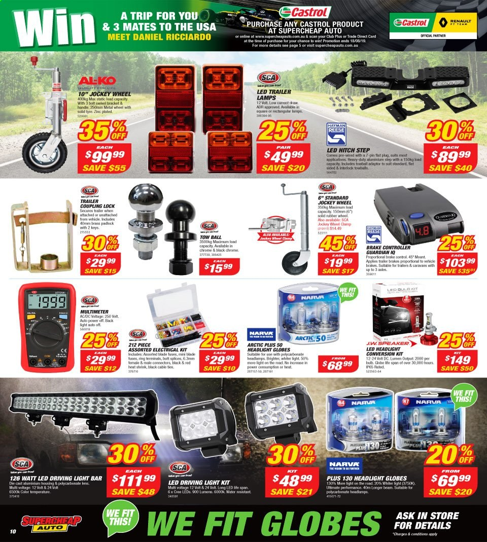 Supercheap Auto catalogue  - 7.8.2019 - 18.8.2019. Page 10.
