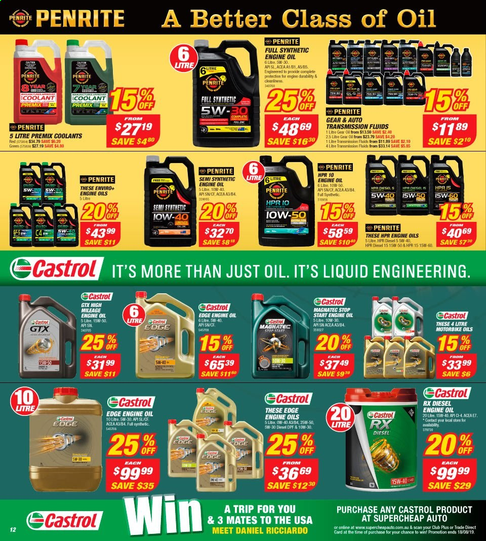 Supercheap Auto catalogue  - 7.8.2019 - 18.8.2019. Page 12.
