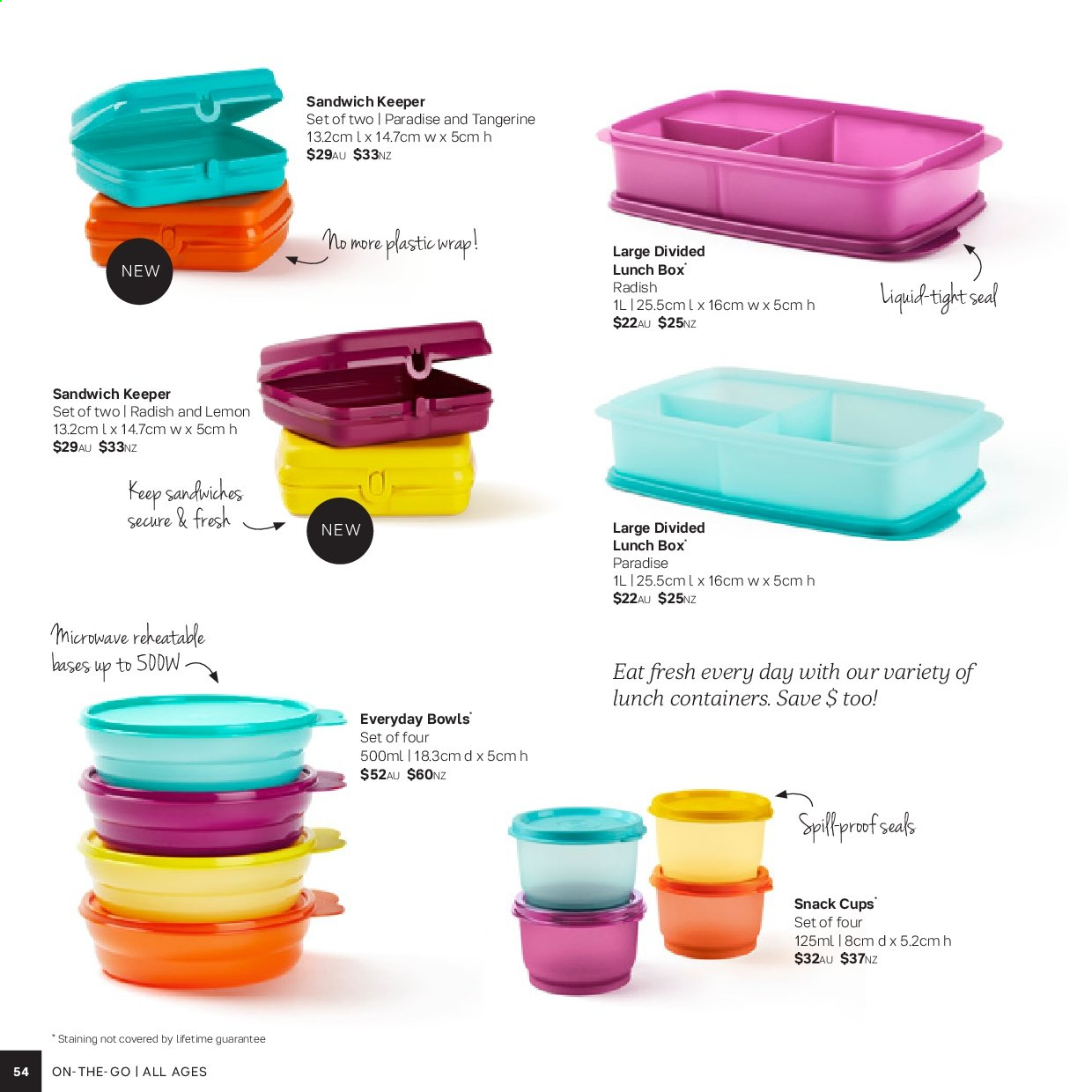 Tupperware catalogue . Page 54.