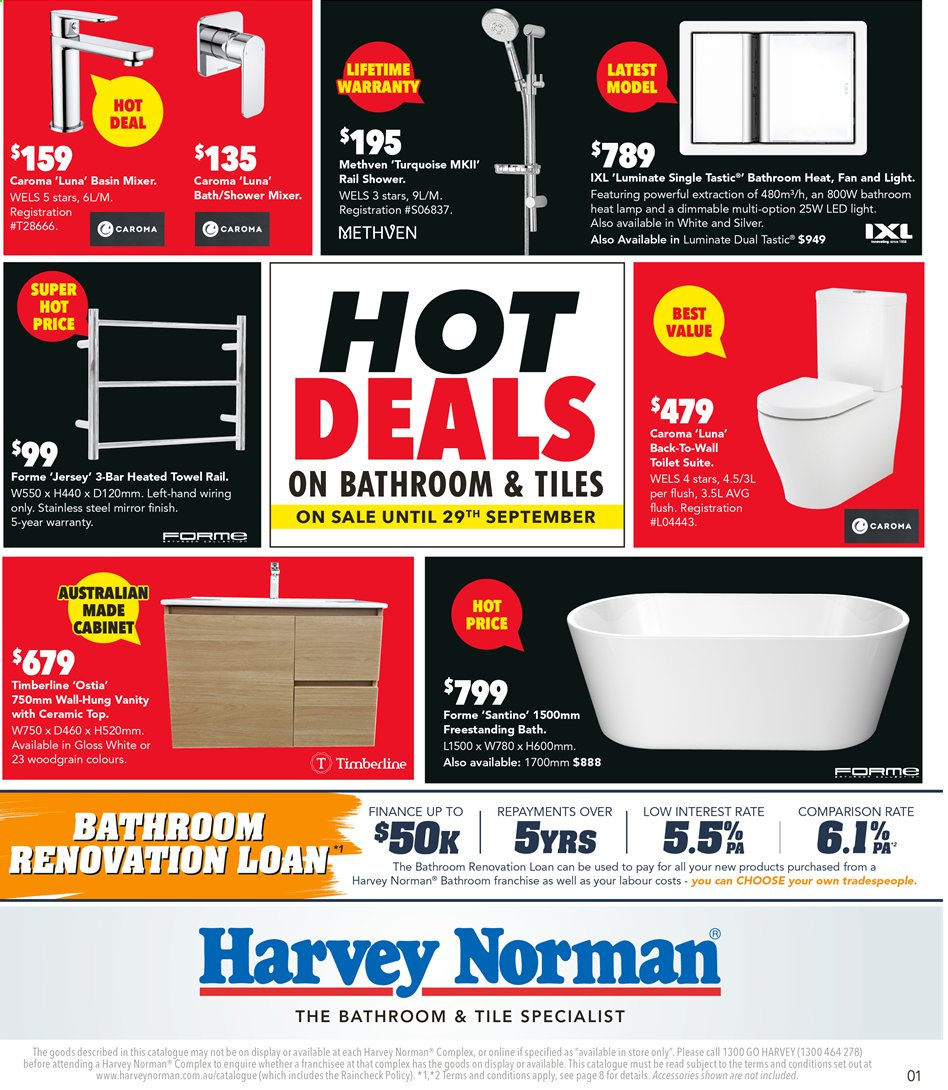 Harvey Norman catalogue  - 9.9.2019 - 29.9.2019. Page 1.