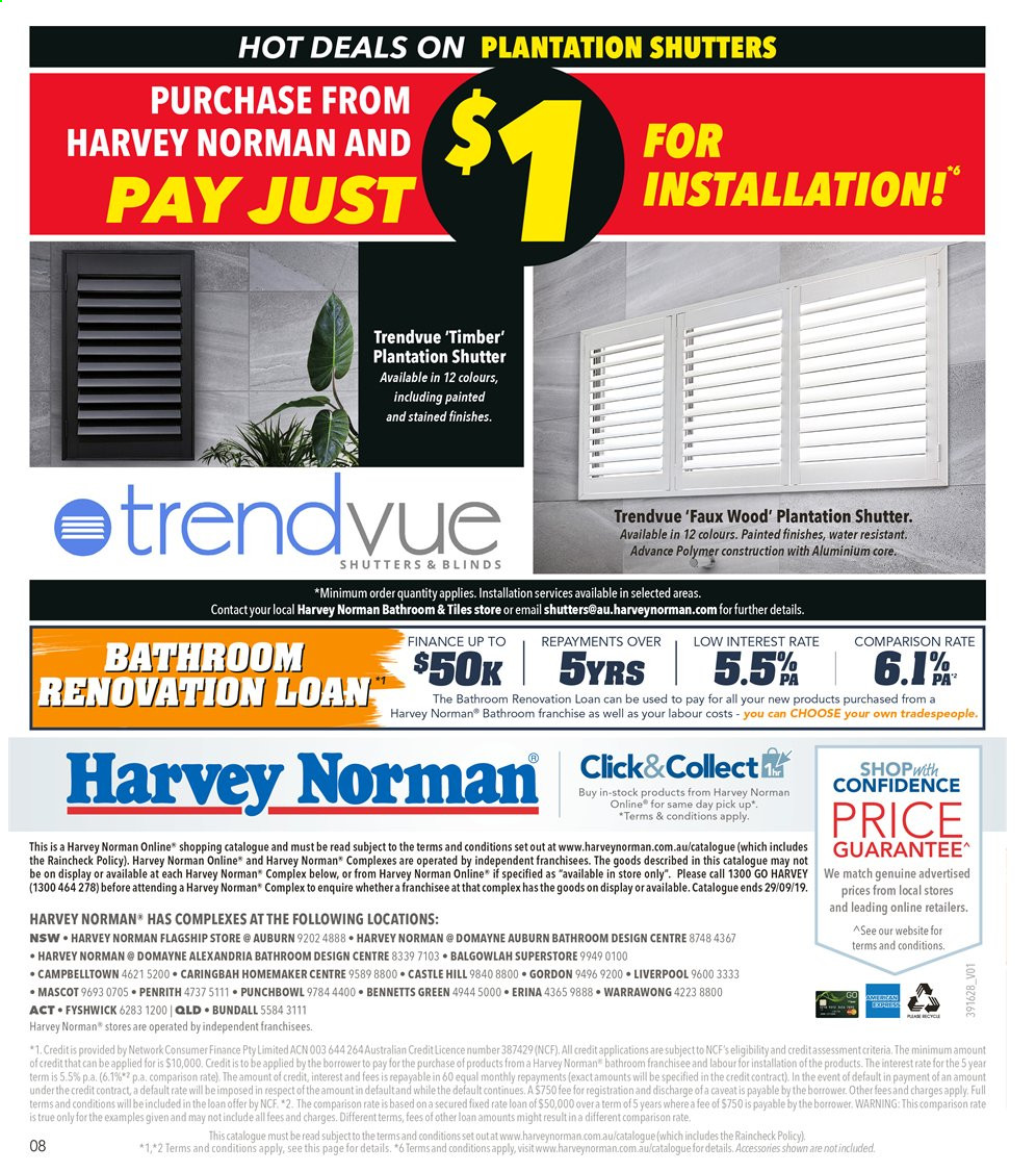 Harvey Norman catalogue  - 9.9.2019 - 29.9.2019. Page 8.