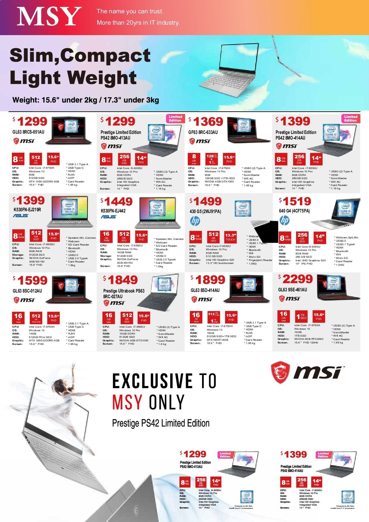 MSY Technology catalogue . Page 7.