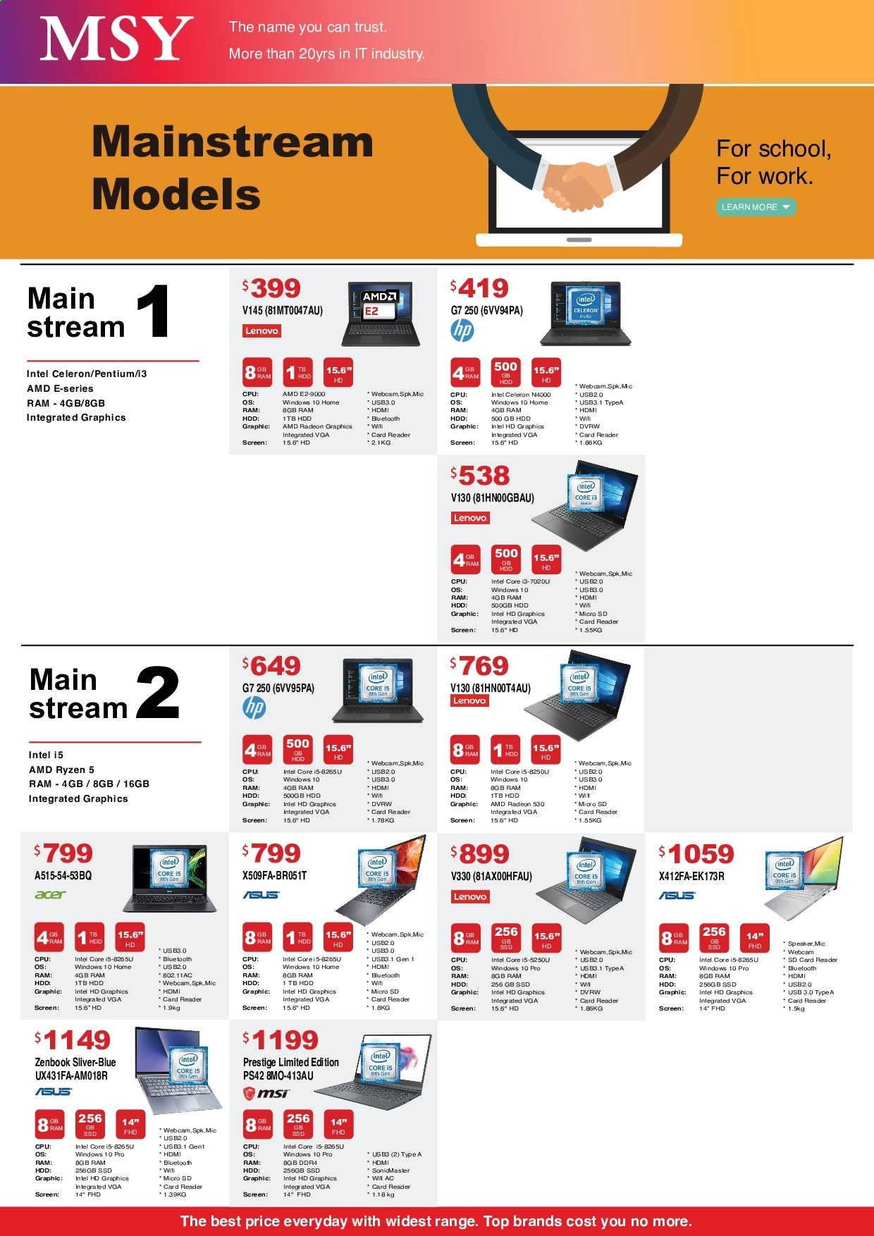 MSY Technology catalogue . Page 5.