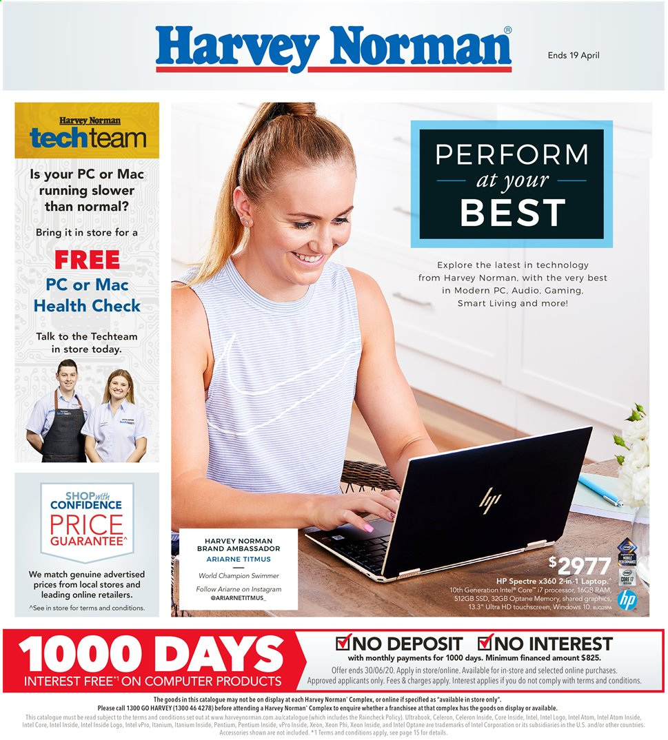 Harvey Norman catalogue  - 2.4.2020 - 19.4.2020. Page 1.
