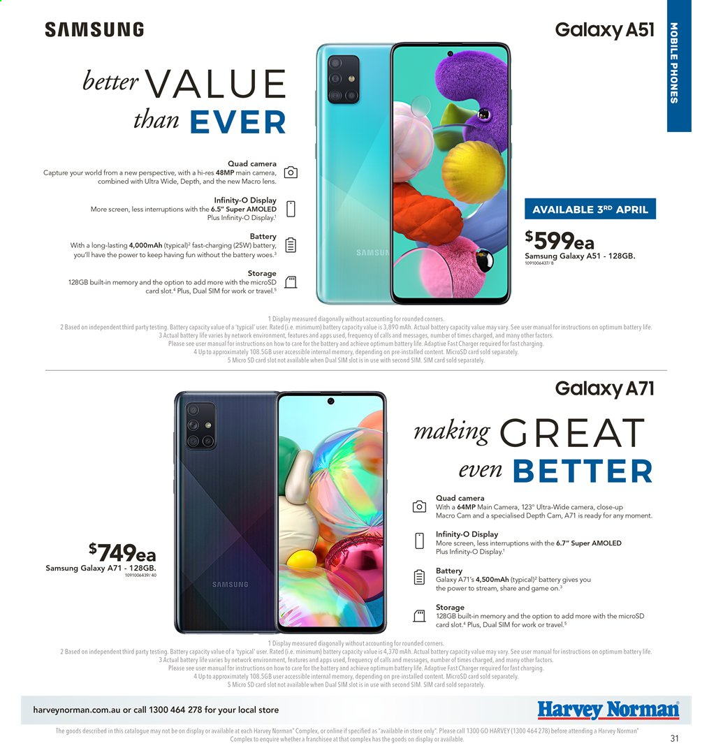 Harvey Norman catalogue  - 2.4.2020 - 19.4.2020. Page 31.
