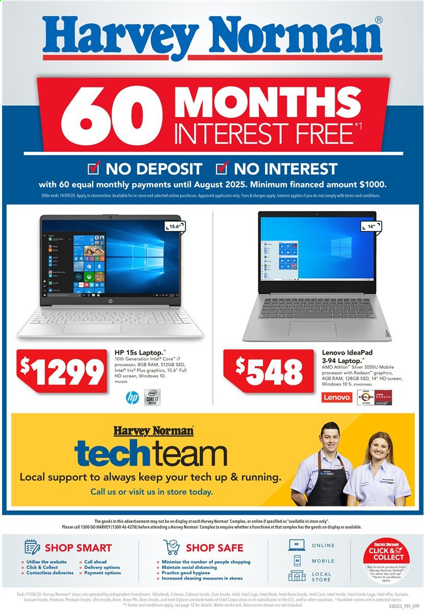 Harvey Norman catalogue  - 10.8.2020 - 17.8.2020. Page 1.