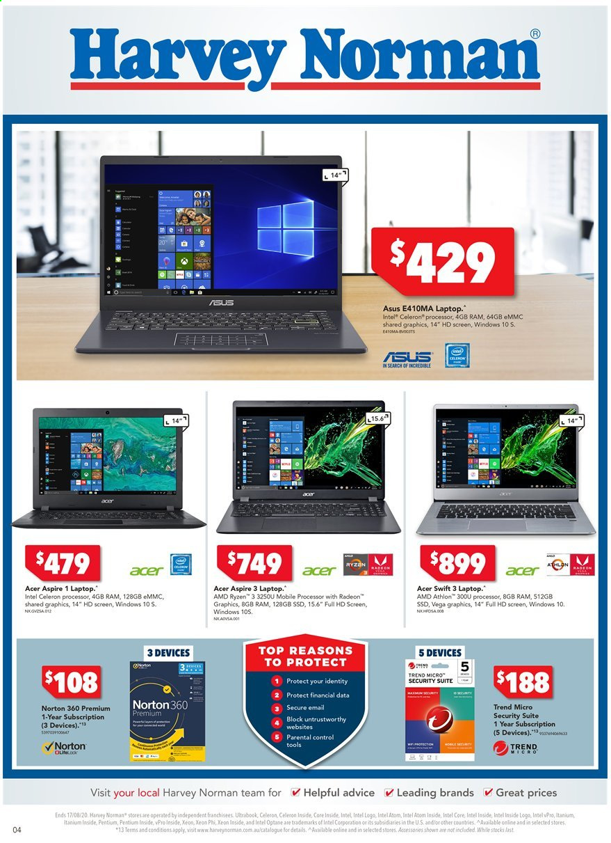 Harvey Norman catalogue  - 10.8.2020 - 17.8.2020. Page 4.