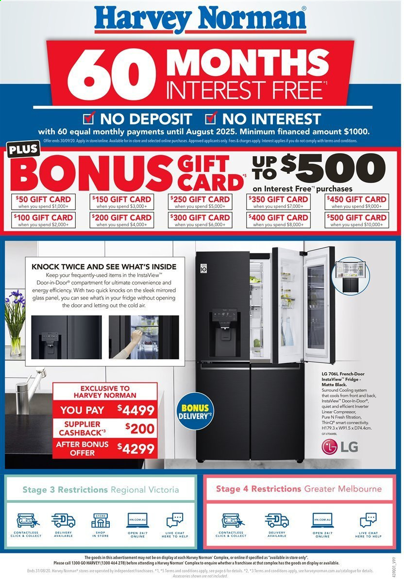 Harvey Norman catalogue  - 17.8.2020 - 31.8.2020. Page 1.