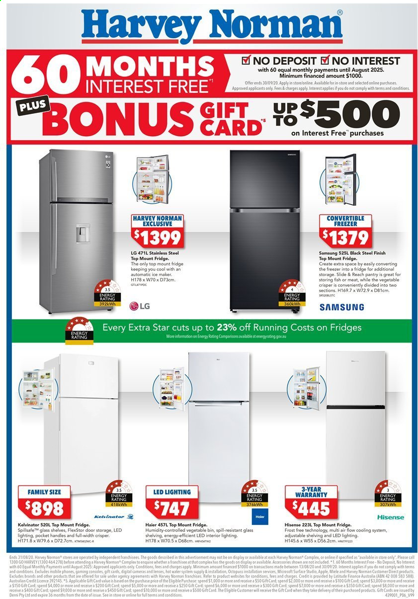 Harvey Norman catalogue  - 17.8.2020 - 31.8.2020. Page 6.