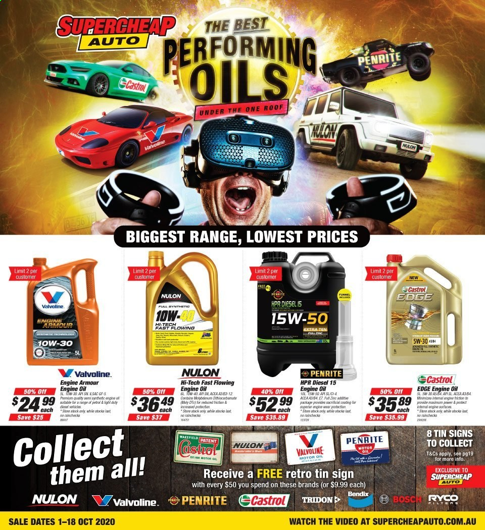 Supercheap Auto Catalogue - 1.10.2020 - 18.10.2020 - Sales products - bosch, dates, motor oil, watch, fan, zinc. Page 1.