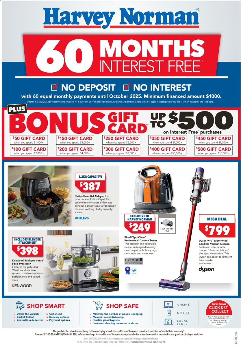 Harvey Norman Catalogue - 9.10.2020 - 16.10.2020 - Sales products - Bissell, blender, rug, vacuum, vacuum cleaner, Philips, carpet, carpet cleaner, Kenwood, Dyson, food processor, cleaner. Page 1.