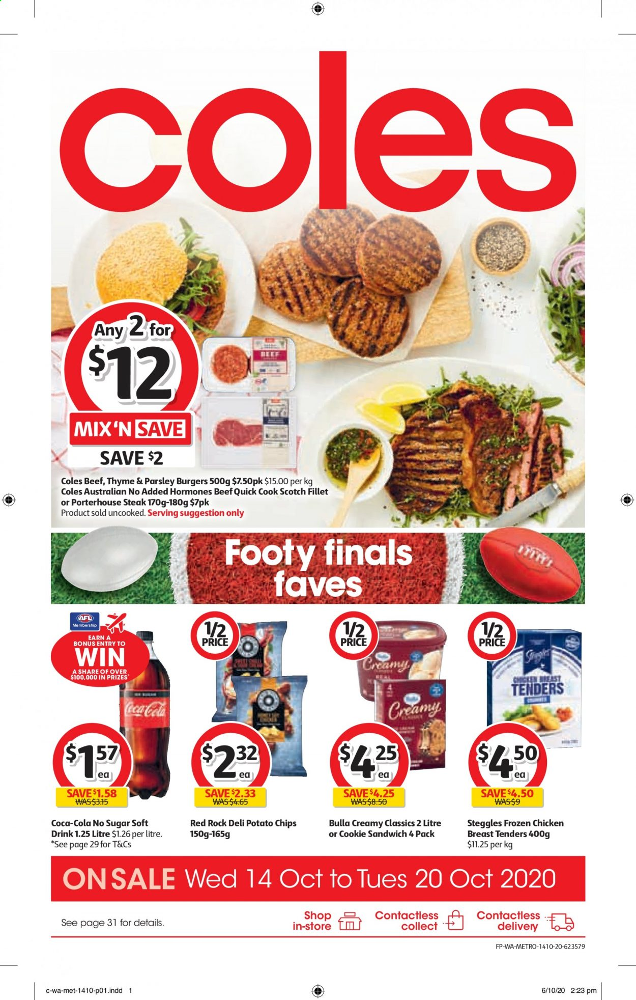 Coles Catalogue - 14.10.2020 - 20.10.2020 - Sales products - beef meat, coca-cola, frozen, sugar, potato chips, potatoes, chicken, parsley, chips, steak, burger, sandwich, drink, chicken breast, soft drink. Page 1.