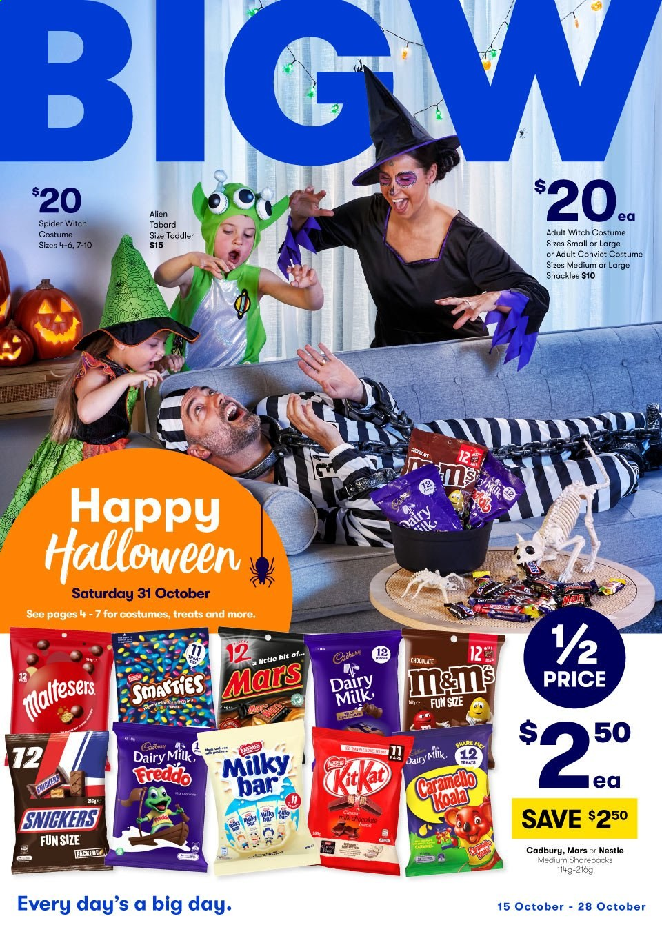 BIG W Catalogue - 15.10.2020 - 28.10.2020 - Sales products - milk, Nestlé, chocolate, Snickers, Mars, cadbury dairy, bar, spider. Page 1.
