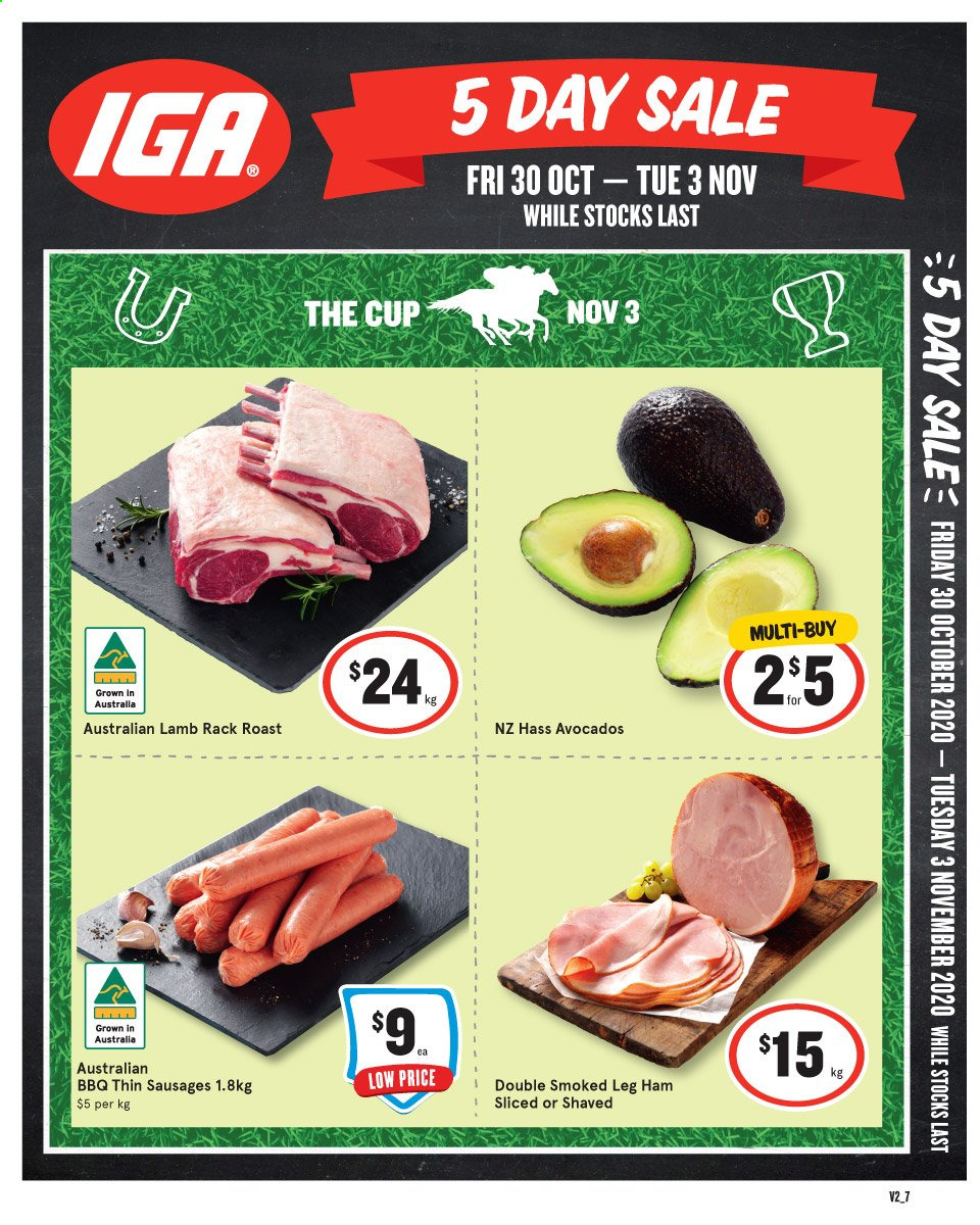 IGA Catalogue - 30.10.2020 - 3.11.2020 - Sales products - avocado, lamb meat, rack, sausages, ham, barbecue, leg ham, lamb, roast. Page 1.