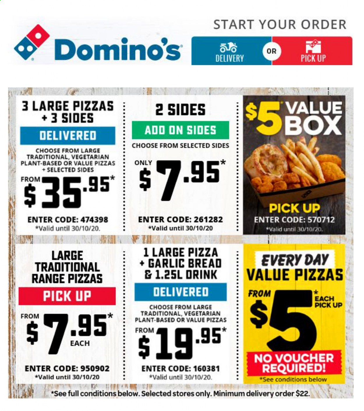 Domino's Catalogue - 30.10.2020 - 30.10.2020 - Sales products - bread, garlic, veggie, pizza, drink, vegetarian. Page 1.