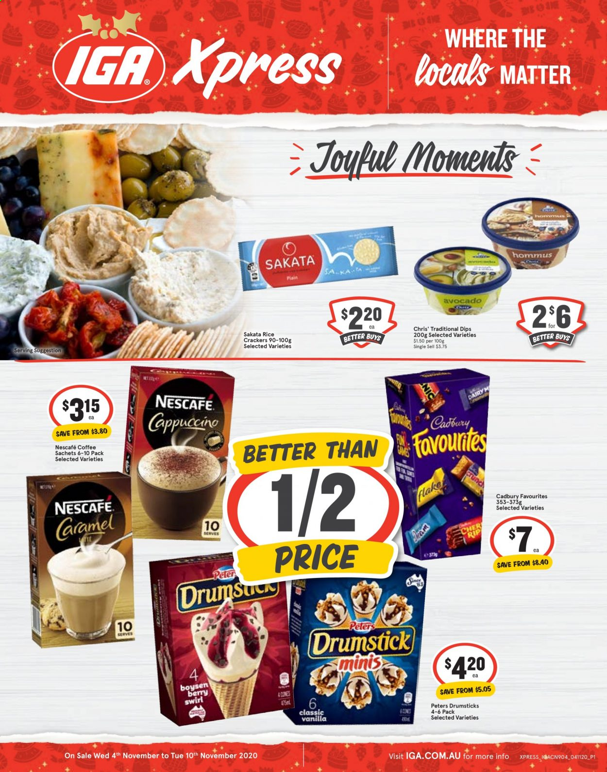 IGA Xpress Catalogue - 4.11.2020 - 10.11.2020 - Sales products - avocado, caramel, coffee, crackers, rice, berry, nescafé. Page 1.