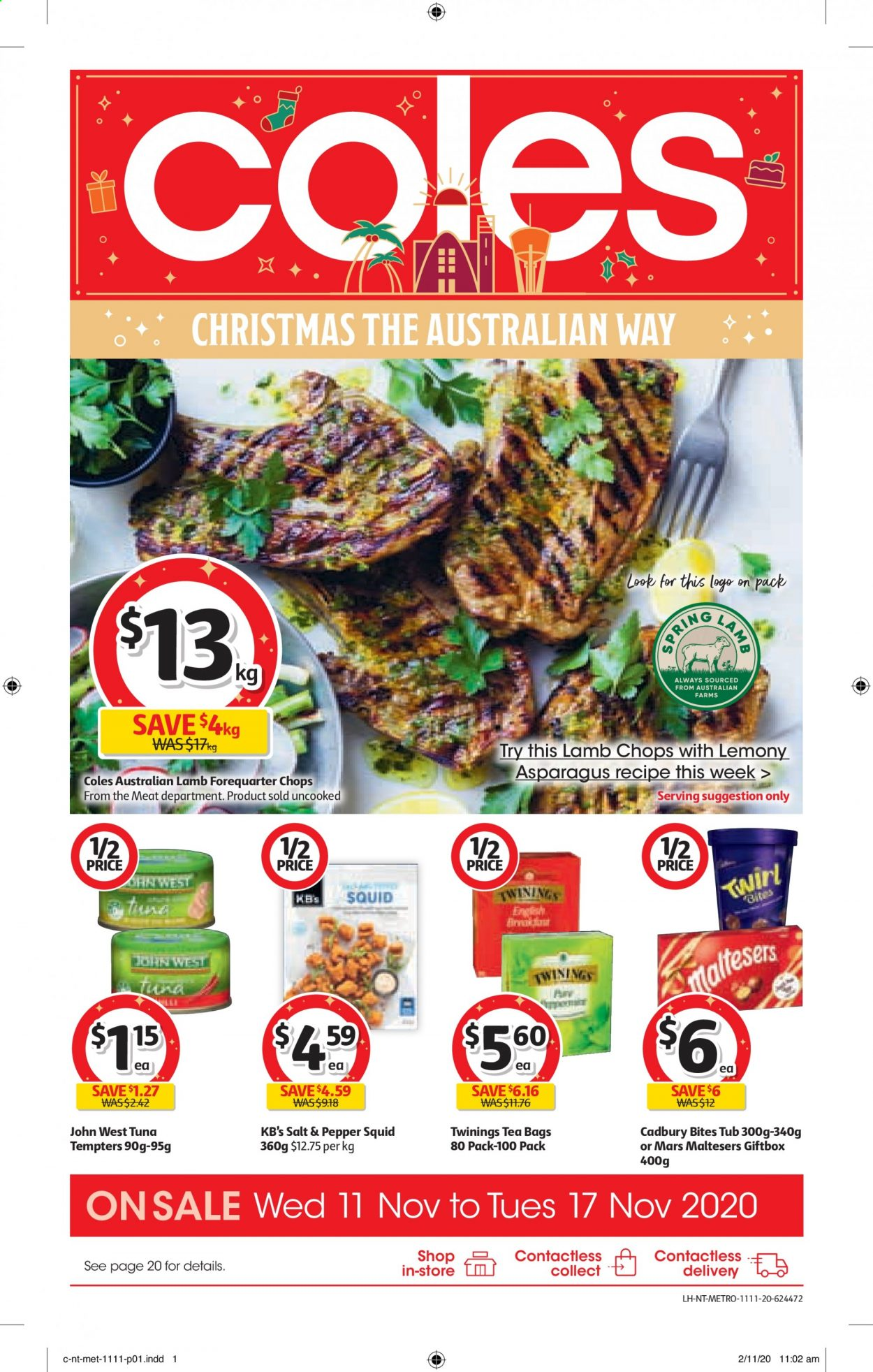 Coles Catalogue - 11.11.2020 - 17.11.2020 - Sales products - asparagus, lamb chops, lamb meat, squid, tuna, meat, pepper, salt, teabag, mars, bites, tub, metro, tea bags, lamb, always, spring. Page 1.