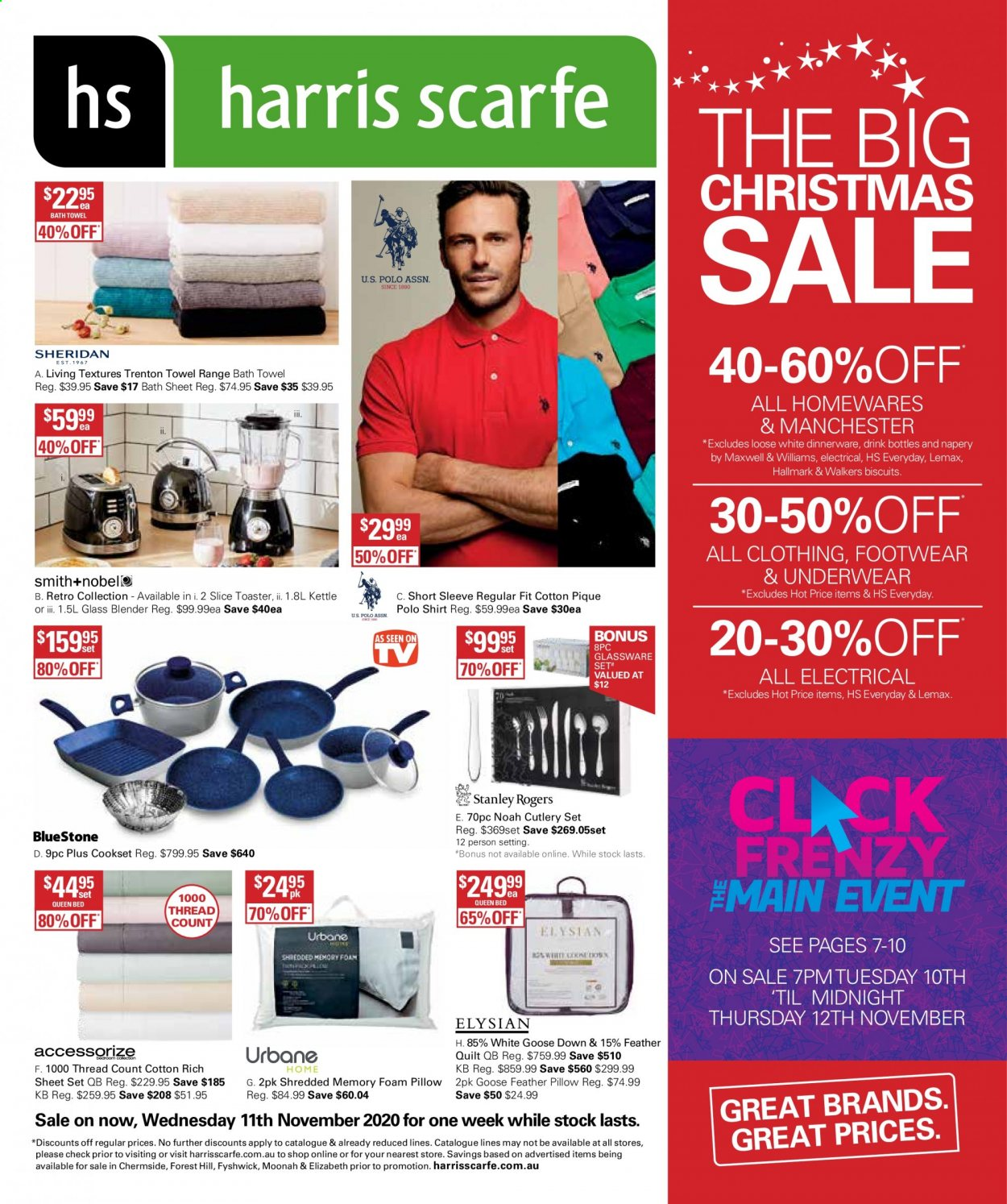 Harris Scarfe Catalogue - Sales products - dinnerware set, glassware set, cutlery set, glass, sheet, pillow, quilt, foam pillow, bath sheet, bath towel, towel, blender, toaster, kettle, Lemax, shirt, underwear, bed. Page 1.