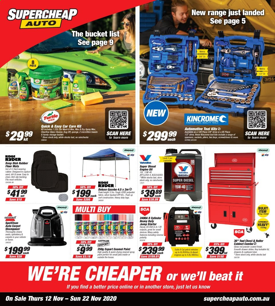 Supercheap Auto Catalogue - 12.11.2020 - 22.11.2020 - Sales products - cabinet, drawer, motor oil, towel, USB, pliers, carpet, sponge, bucket, gazebo, roller, cleaner, oil, vehicle, Paint, tools, heavy duty, rubber. Page 1.