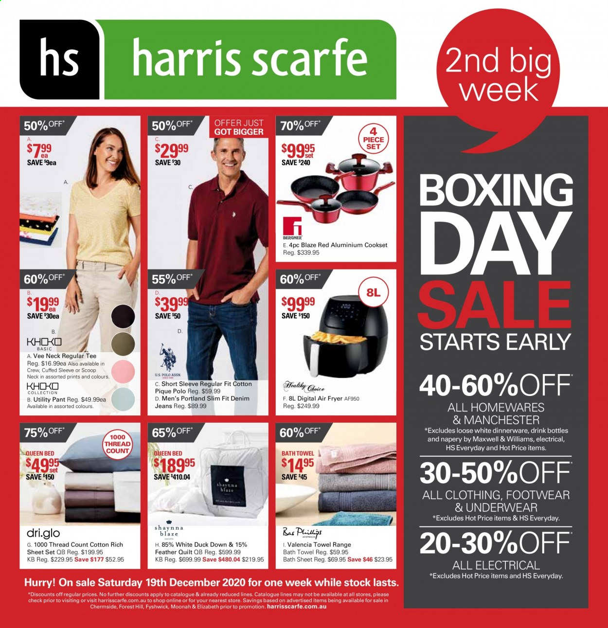 Harris Scarfe Catalogue - Sales products - jeans, dinnerware set, sheet, quilt, bath sheet, bath towel, towel, fryer, air fryer, tee, underwear, bed. Page 1.