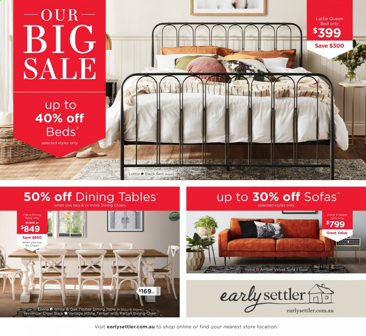 Early Settler Catalogue - 24.12.2020 - 31.1.2021 - Sales products - dining table, dining chair, sofa, table, chair, queen bed. Page 1.
