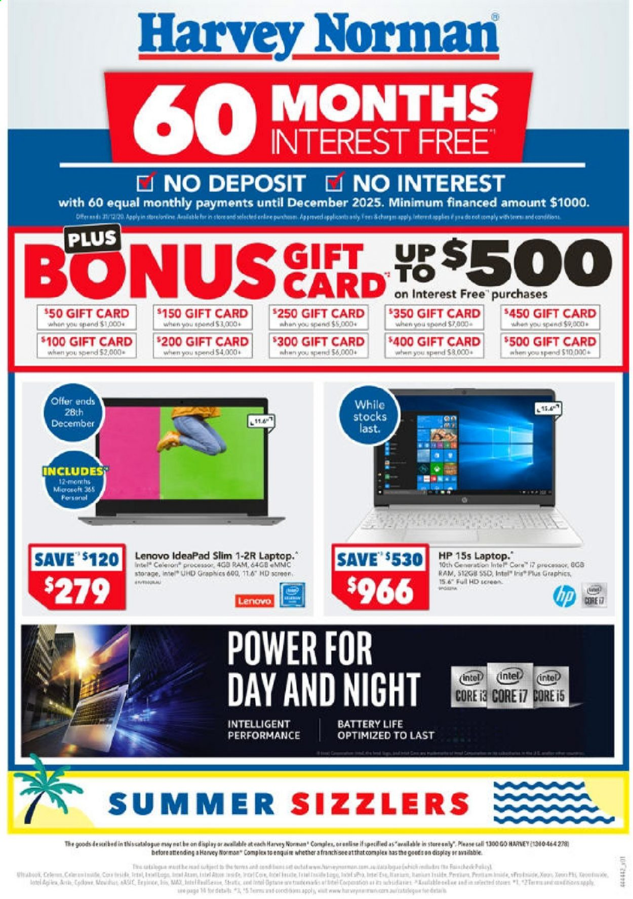 Harvey Norman Catalogue - 24.12.2020 - 4.1.2021 - Sales products - battery, full hd, laptop, Lenovo, tee, HP, Intel, cot, ssd. Page 1.