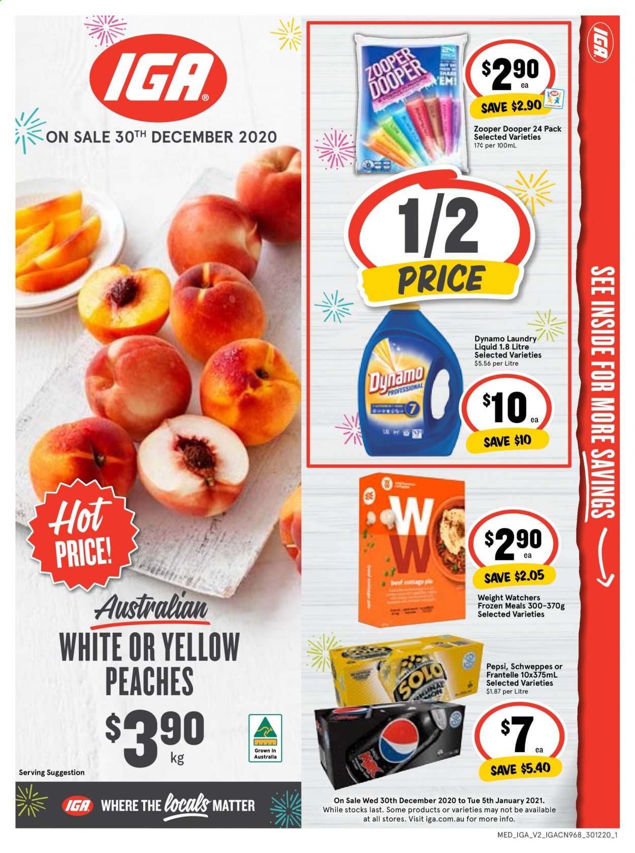 IGA Catalogue - 30.12.2020 - 5.1.2021 - Sales products - peaches, Zooper Dooper, Pepsi, Schweppes. Page 1.