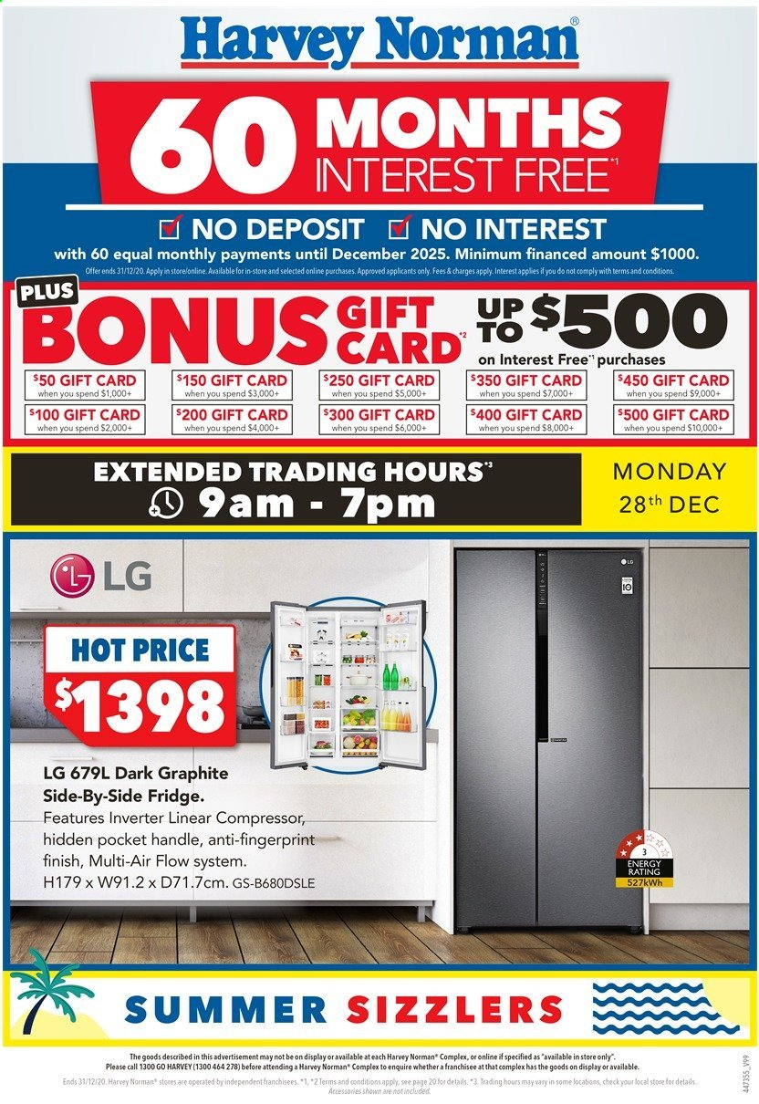 Harvey Norman Catalogue - 28.12.2020 - 31.12.2020 - Sales products - LG, refrigerator, handles, fridge. Page 1.