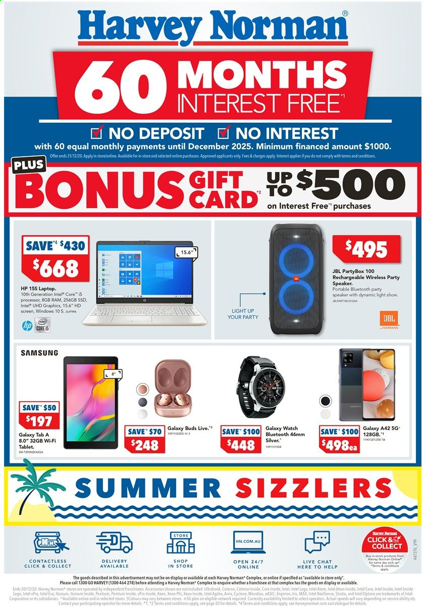 Harvey Norman Catalogue - 29.12.2020 - 30.12.2020 - Sales products - tablet, HP, Samsung Galaxy, Samsung Galaxy Tab, Samsung, Samsung Galaxy Watch, laptop, Intel, speaker, JBL. Page 1.