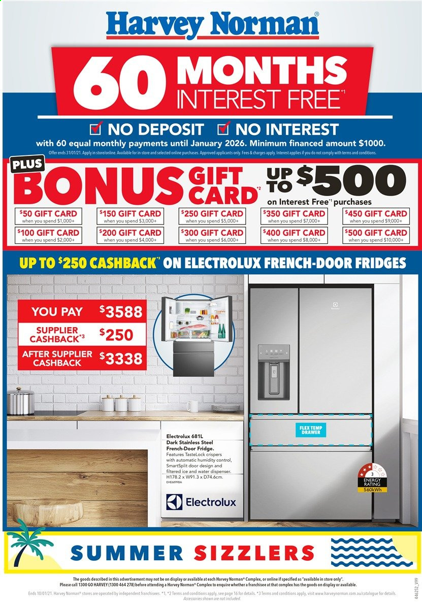 Harvey Norman Catalogue - 4.1.2021 - 10.1.2021 - Sales products - drawer, Electrolux, refrigerator, water dispenser, fridge. Page 1.