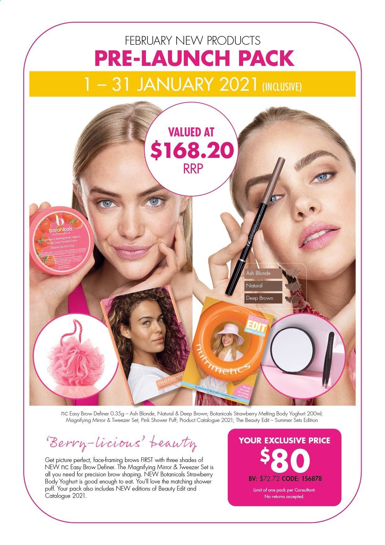 Nutrimetics Catalogue - 1.1.2021 - 31.1.2021 - Sales products - tweezer, shades, yoghurt. Page 1.