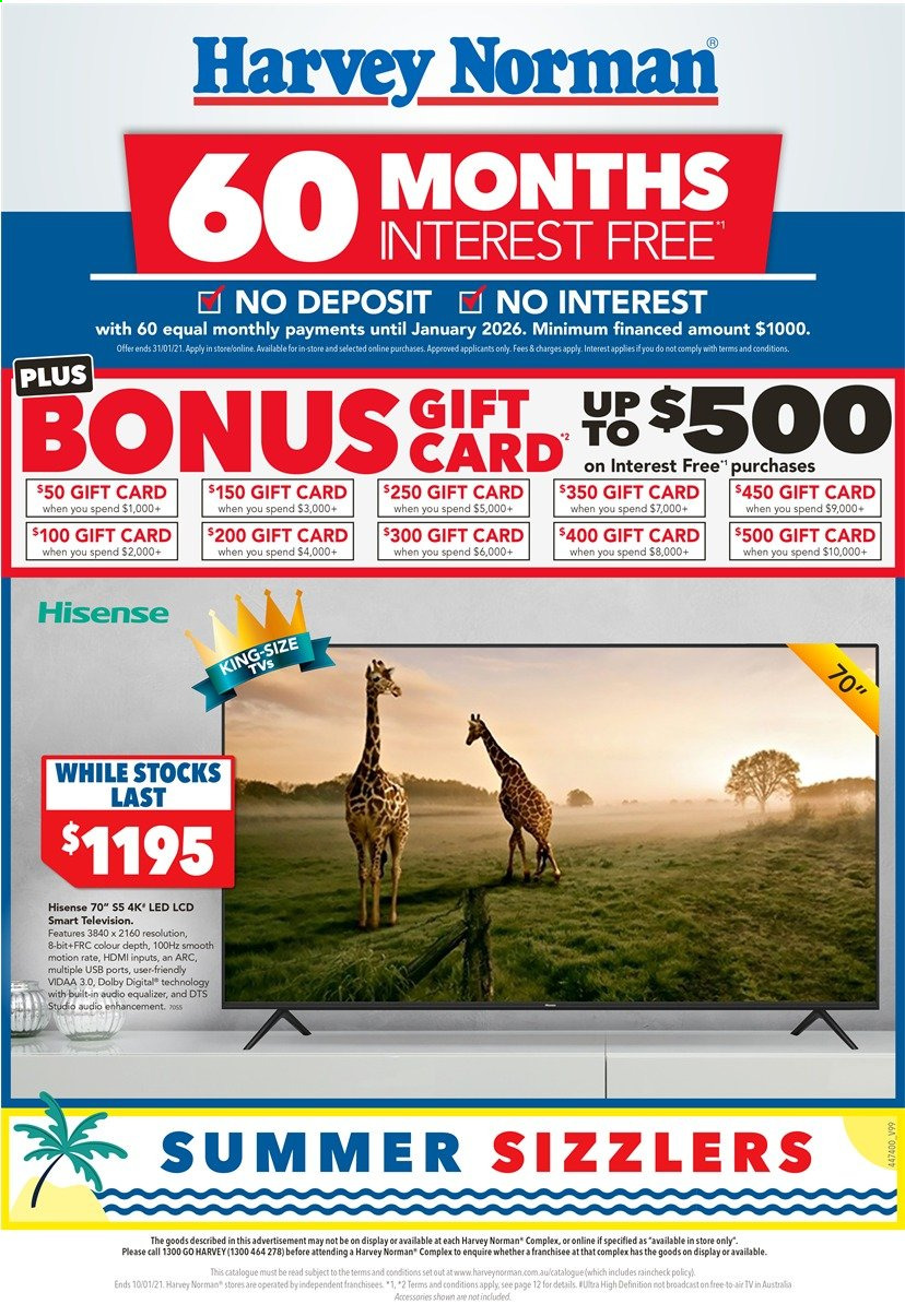Harvey Norman Catalogue - 6.1.2021 - 10.1.2021 - Sales products - USB, Hisense, led. Page 1.