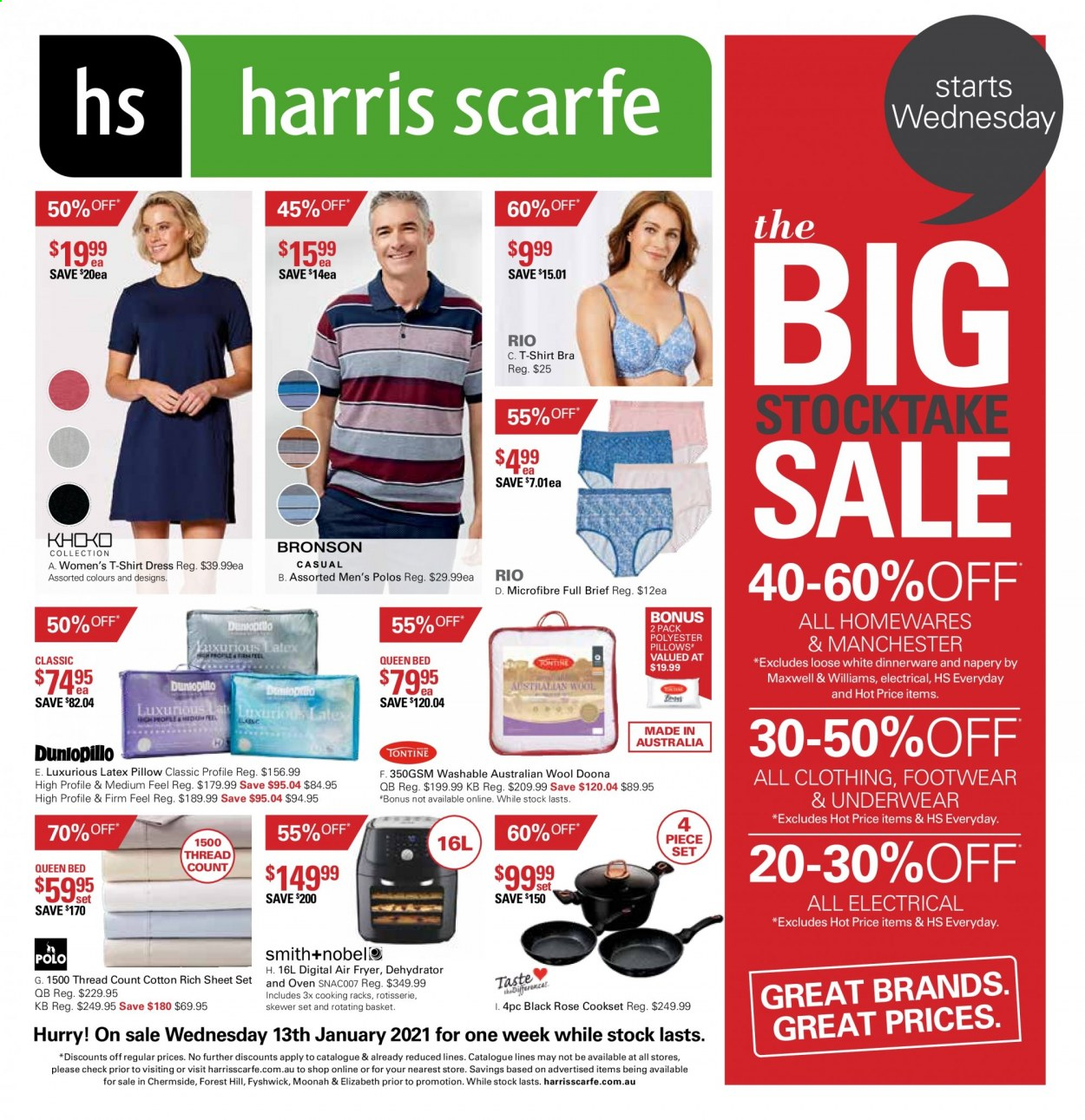 Harris Scarfe Catalogue - Sales products - basket, dinnerware set, sheet, pillow, fryer, air fryer, dehydrator, dress, shirt, t-shirt, bra, underwear, bed. Page 1.